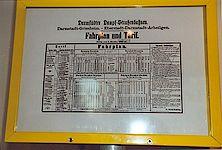 Original Fahrplan und Tarifschild von Darmstadt nach Griesheim.