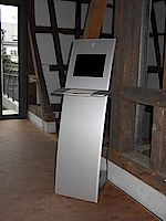 Das Multimediaterminal im Griesheimer Museum für weiter Informationen für die Besucher.